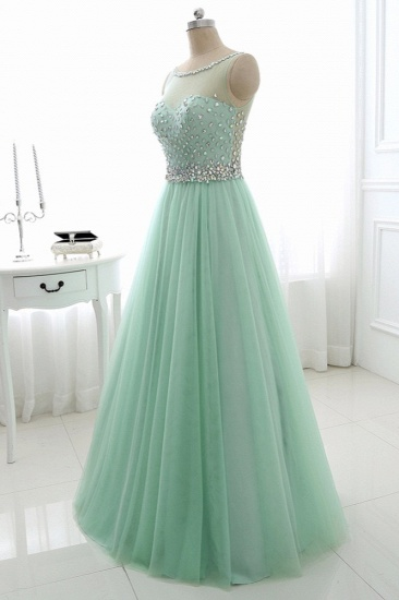 BMbridal Chic Tulle Jewel Sleeveles A-Line Prom Dresses with Rhinestones On Sale_4