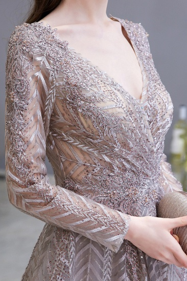 BMbridal Sexy V-Neck Long Sleeve Prom Dress Appliques A-Line Evening Gowns_9