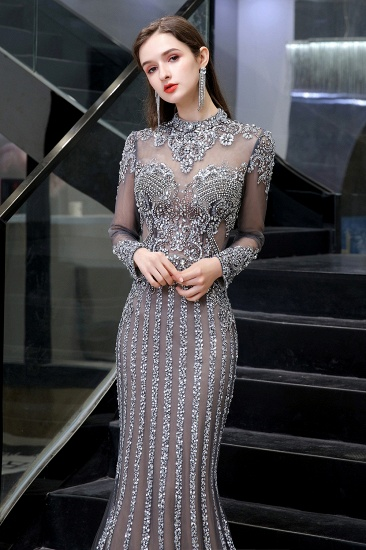 BMbridal Gorgeous Long Sleeve Mermaid Prom Dress With Sequins High-Neck Evening Gowns_9