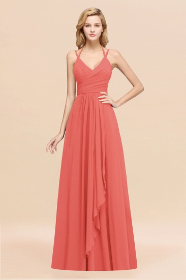 BMbridal Affordable Chiffon Burgundy Bridesmaid Dress With Spaghetti Straps_7