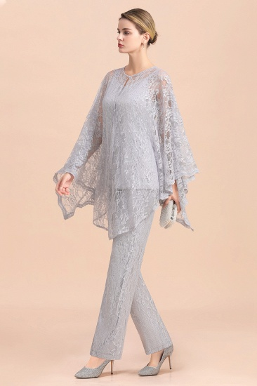 BMbridal Elegant V-Neck Appliques Silver Mother of Bride Jumpsuit with Lace Wraps_6