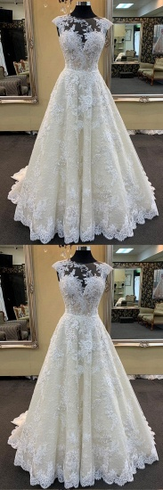 BMbridal Chic Ivory Lace Round Neck Long Wedding Dress Cap Sleeve Sweep Train Bridal Gowns On Sale_3