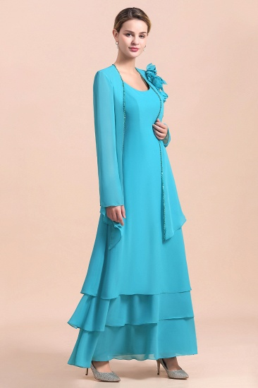 BMbridal Gorgeous Square Neck Flowers Layers Mother of Bride Dress with Long Wraps_4