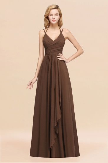 Affordable Chiffon Burgundy Bridesmaid Dress With Spaghetti Straps_12