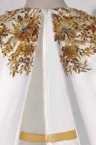 Elegant Satin Jewel Appliques Long Prom Dresses with Sash Online_7
