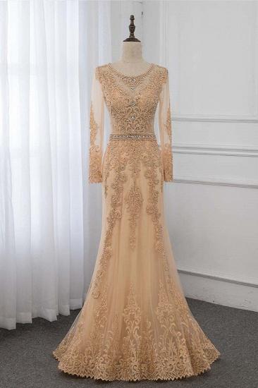 BMbridal Luxury Jewel Long Sleeves Mermaid Prom Dresses with Rhinestone Appliques Online_1
