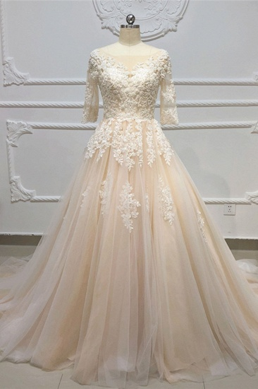 Gorgeous Champagne Tulle Half Sleeve Long Wedding Dress White Lace Applique Bridal Gowns On Sale_1