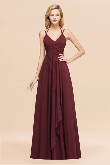Affordable Chiffon Burgundy Bridesmaid Dress With Spaghetti Straps_10