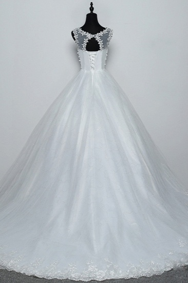 BMbridal Elegant Jewel White Tulle Ball Gown Wedding Dresses Sleeveless Appliques Bridal Gowns with Rhinestones_3