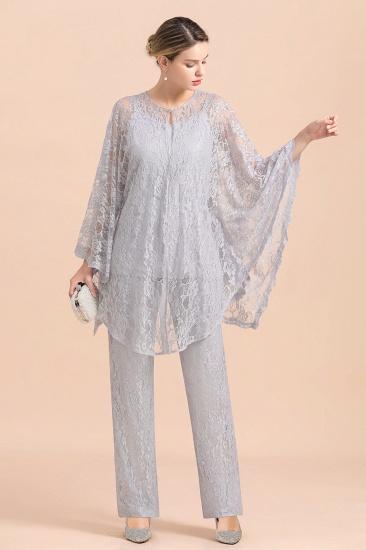 BMbridal Elegant V-Neck Appliques Silver Mother of Bride Jumpsuit with Lace Wraps_7