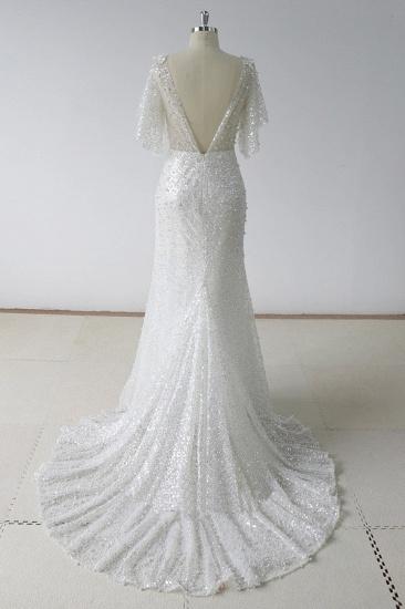 BMbridal Elegant Stunning Sequins White Tulle Wedding Dress Sweep Train Mermaid Short Sleeve Bridal Gowns On Sale_3
