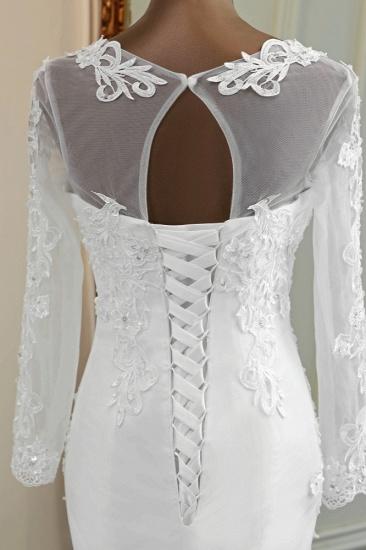 BMbridal Elegant Jewel Lace Mermaid White Wedding Dresses Long Sleeves Appliques Bridal Gowns_8