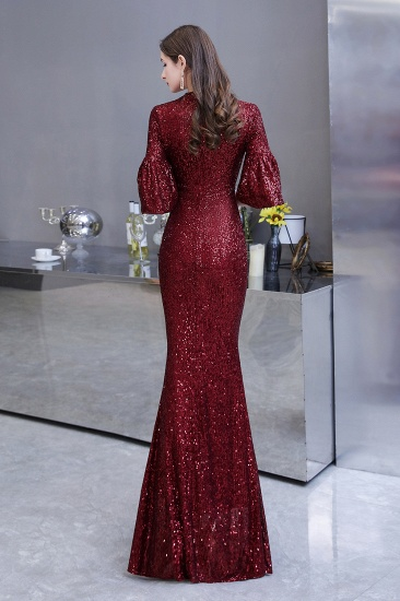 BMbridal Burgundy Short Sleeve Sequins Prom Dress Long Party Gowns Online_3