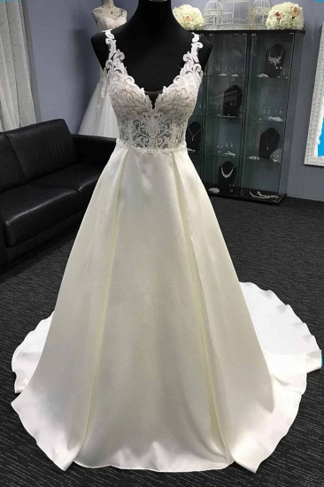 Glamorous White Satin V-Neck Wedding Dress A-Line Halter Bridal Gowns On Sale_1