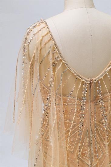 Elegant Tulle Beadings Gold Mermaid Prom Dresses Short Sleeves Rhinestones Evening Dresses Online_8