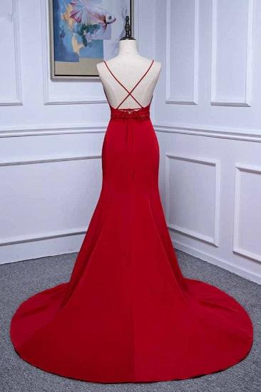 Elegant V-Neck Burgundy Prom Dresses Spaghetti Straps with Beadings Sash_3