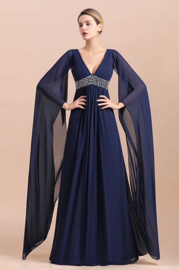 Navy Long Sleeve Chiffon Mother Of the Bride Dress With Ruffles Online