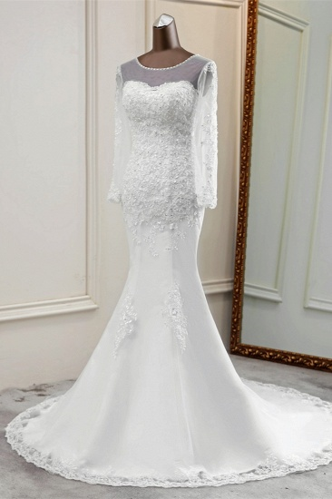 Elegant Jewel Long Sleeves White Mermaid Wedding Dresses with Rhinestone Applqiues_4