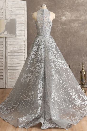 Gorgeous High-Neck Tulle Lace Prom Dresses Sleeveless Appliques Rhinestones Formal Party Dresses On Sale_3