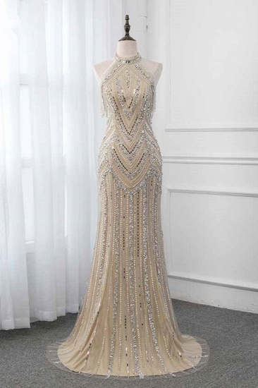 BMbridal Gorgeous High-Neck Sleeveless Mermaid Prom Dresses with Rhinestoes Online_1