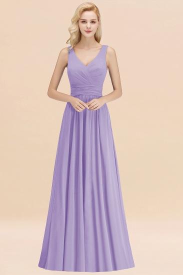 Modest Sleeveless V-Neck Long Chiffon Bridesmaid Dress Online with Ruffle_21