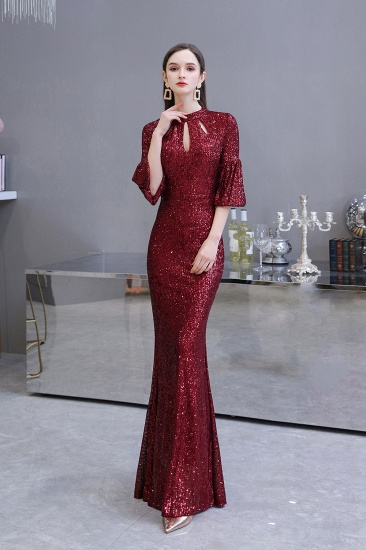 BMbridal Burgundy Short Sleeve Sequins Prom Dress Long Party Gowns Online_8