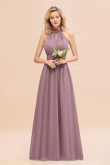 Glamorous High-Neck Halter Bridesmaid Affordable Dresses with Ruffle_43