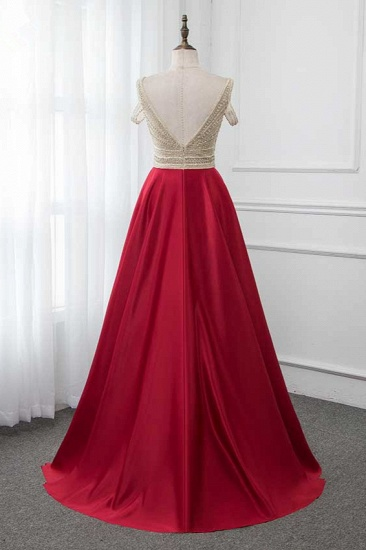 Glamorous V-Neck Rhinestone Burgundy Mermaid Prom Dresses with Cold Sleeves Online_3