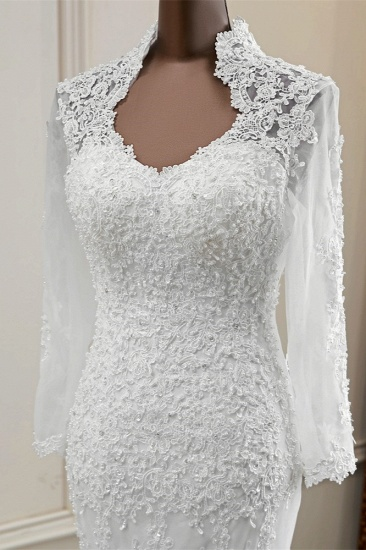 BMbridal Elegant Long Sleeves Lace Mermaid Wedding Dresses Appliques White Bridal Gowns with Beadings_4