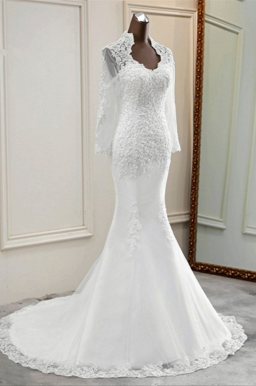 BMbridal Elegant Long Sleeves Lace Mermaid Wedding Dresses Appliques White Bridal Gowns with Beadings_6