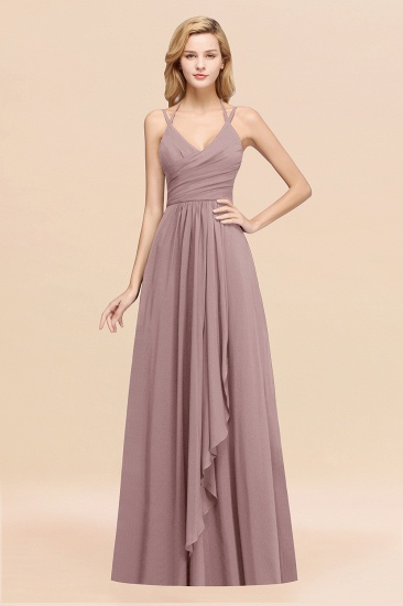 Affordable Chiffon Burgundy Bridesmaid Dress With Spaghetti Straps_37