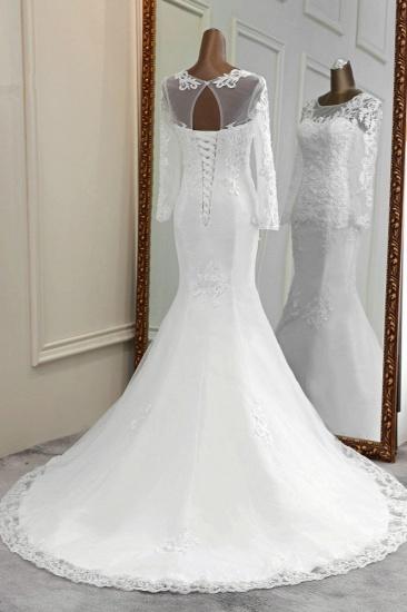 BMbridal Elegant Jewel Lace Mermaid White Wedding Dresses Long Sleeves Appliques Bridal Gowns_3