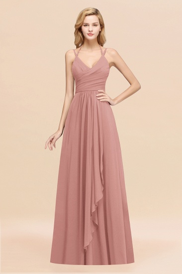 BMbridal Affordable Chiffon Burgundy Bridesmaid Dress With Spaghetti Straps_50