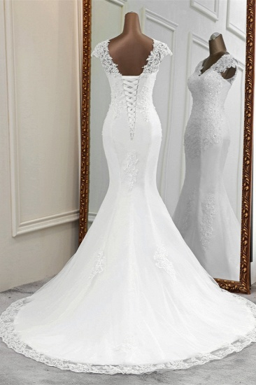 Luxury V-Neck Sleeveless White Lace Mermaid Wedding Dresses with Appliques_3