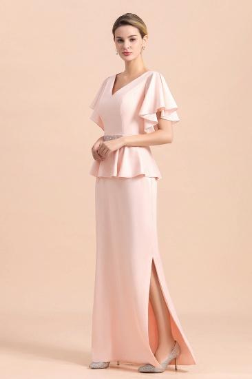 BMbridal Glamorous V-Neck Front Slit Mother of Bride Dresses with Beadings Sash_8