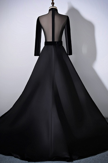 BMbridal Chic V-Neck Ruffles Black A-Line Prom Dresses Long Sleeves Evening Dresses with Sash_3