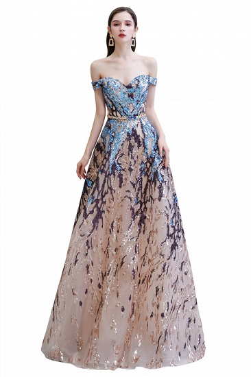 BMbridal Glamorous Off-the-Shoulder Sequins Evening Gowns Long Multi-Color Prom Dress_1