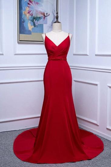 Elegant V-Neck Burgundy Prom Dresses Spaghetti Straps with Beadings Sash_1