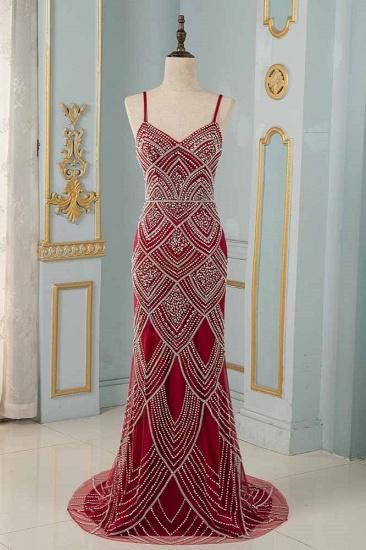 BMbridal Chic Spaghetti Straps Burgundy Mermaid Prom Dresses with Rhinestones_1