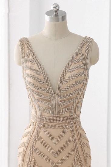 BMbridal Elegant Gold Tulle V-Neck Sleeveless Prom Dresses with Beadings On Sale_4