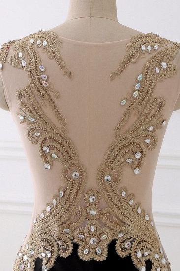 Affordabe V-Neck Sleeveless Mermaid Prom Dresses Gold Appliques with Crystals_9