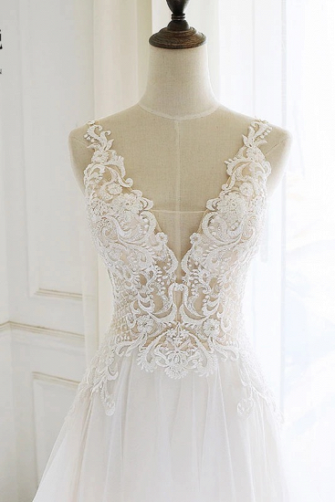 Gorgeous White Tulle Lace Long Wedding Dress Sleeveless Custom Size Bridal Gowns On Sale_4