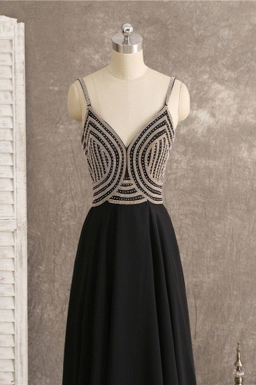 BMbridal Sexy Spaghetti Straps V-Neck Black Prom Dresses Sleeveless with Ruffles Beadings On Sale_5