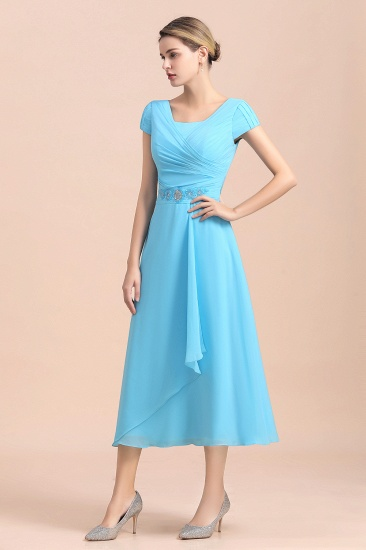Blue Short Sleeves Chiffon Mother of the Bride Dress Tea-Length Online_6