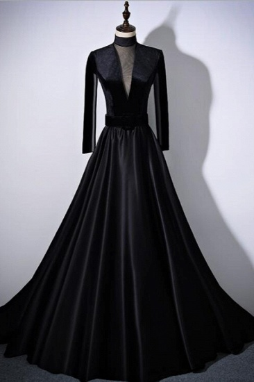 Chic V-Neck Ruffles Black A-Line Prom Dresses Long Sleeves Evening Dresses with Sash_4