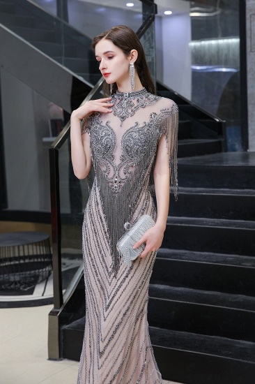 BMbridal Luxurious Crystal Beadings Mermaid Prom Dress Long On Sale_3