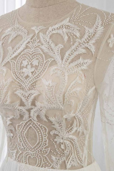 BMbridal Affordable Jewel Chiffon Ruffles Wedding Dresses Lace Top Long Sleeves Bridal Gowns Online_5