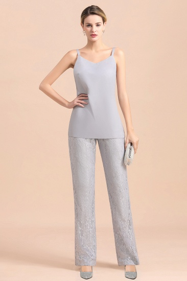 BMbridal Elegant V-Neck Appliques Silver Mother of Bride Jumpsuit with Lace Wraps_8