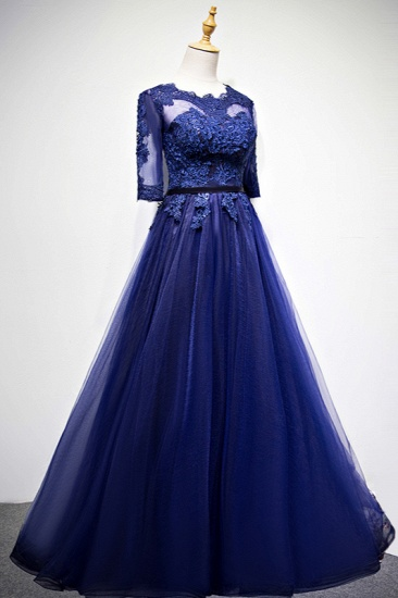 Elegant Jewel Dark Navy Tulle Ruffle Prom Dresses Long Sleeves Appliques Formal Dresses with Rhinestones_4