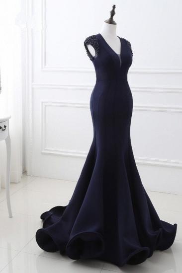Stylish V-Neck Mermaid Black Prom Dresses Sleeveless Beadings Open Back Party Dresses On Sale_4